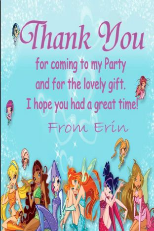 Personalised Winx Club Thank You Cards (1)